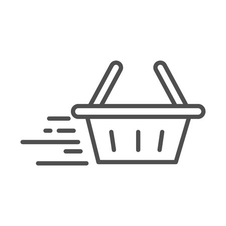 fast shopping basket cargo shipping related delivery vector illustration line style icon Foto de archivo - 143605241