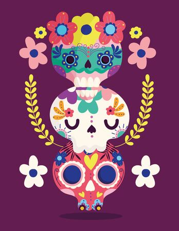 day of the dead, pile catrinas flowers decoration traditional celebration mexican vector illustration