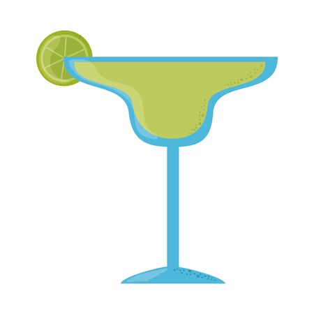 tequila cocktail with lime cinco de mayo mexican celebration vector illustration flat style icon