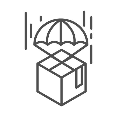 cardboard box with parachute logistic cargo shipping related delivery vector illustration line style icon Foto de archivo - 143606087