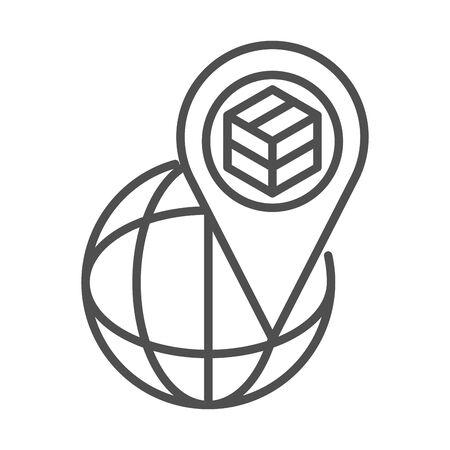 world location cardboard box cargo shipping related delivery vector illustration line style icon Foto de archivo - 143606471