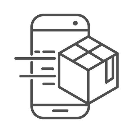 smartphone app cardboard box cargo shipping related delivery vector illustration line style icon Foto de archivo - 143604989