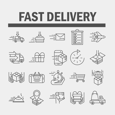 fast delivery cargo shipping commerce business icons set vector illustration line style icon Foto de archivo - 143605187
