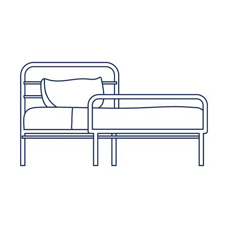 hospital bed with pillow equipment isolated icon vector illustration line style