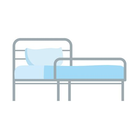 hospital bed with pillow equipment isolated icon vector illustration  イラスト・ベクター素材