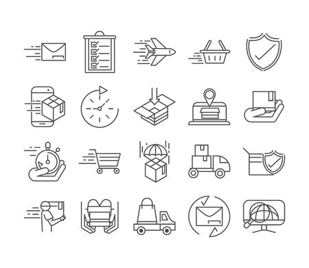 fast delivery cargo shipping commerce business icons set vector illustration line style icon Foto de archivo - 143606106