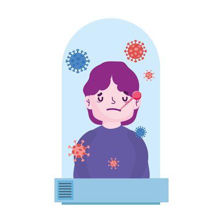 covid 19 coronavirus pandemic, quarantine dome with sick patient vector illustration Vector Illustration
