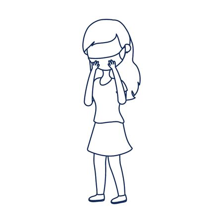 patient woman with medical mask covid 19 coronavirus pandemic vector illustration line style