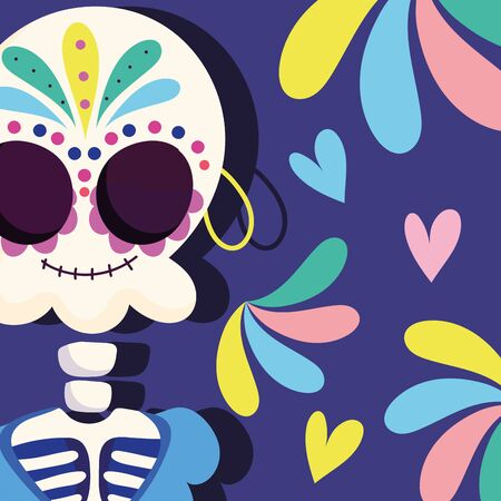 day of the dead, skeleton with earring decoration traditional mexican celebration vector illustration