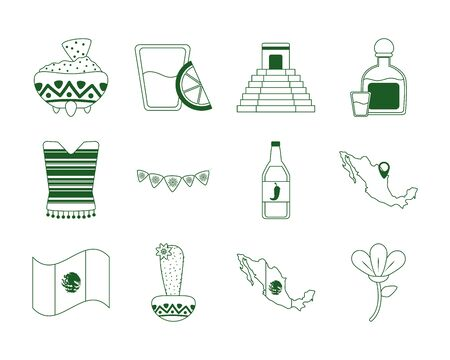 cinco de mayo mexican celebration festive party national icons set vector illustration line style icon