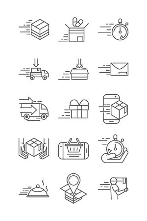 fast delivery cargo shipping commerce business icons set vector illustration line style icon Foto de archivo - 143609075