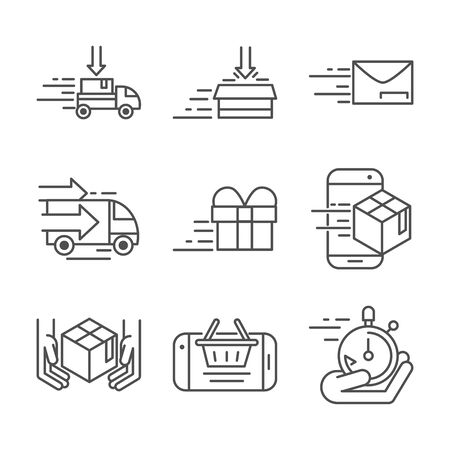 fast delivery cargo shipping commerce business icons set vector illustration line style icon Foto de archivo - 143609096