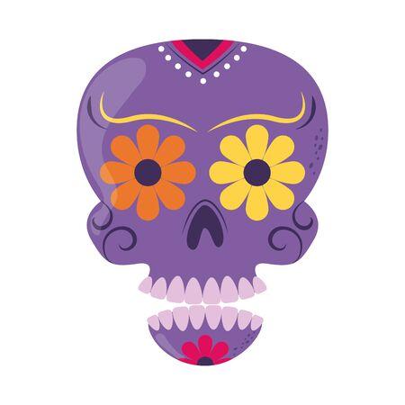 skull catrina flower decoration cinco de mayo mexican celebration vector illustration flat style icon Vectores