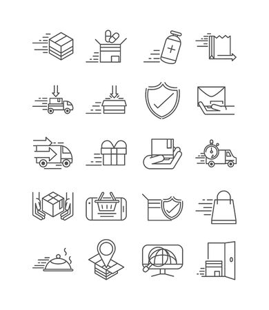 fast delivery cargo shipping commerce business icons set vector illustration line style icon Foto de archivo - 143615722