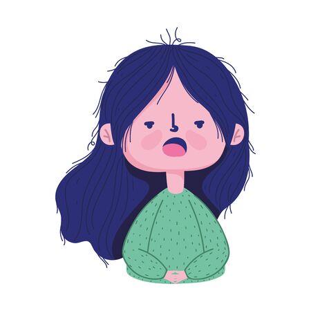 young girl with sick symptom covid 19 coronavirus pandemic vector illustration