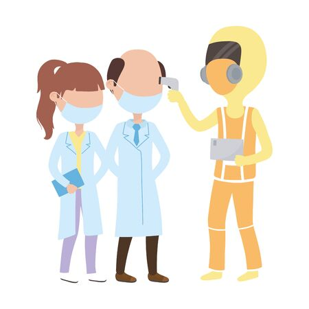 covid 19 coronavirus pandemic, medical protective suit test on medical staff vector illustration