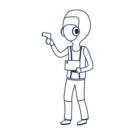 doctor with protective suit and mask covid 19 coronavirus pandemic vector illustration line style
