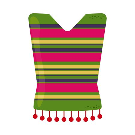 striped poncho clothes traditional cinco de mayo mexican celebration vector illustration flat style icon