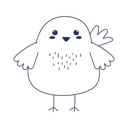 cute chicken animal cartoon isolated icon design vector illustration line style