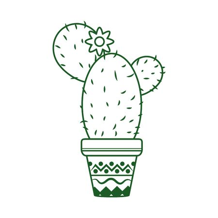 cactus with flower in pot cinco de mayo mexican celebration vector illustration line style icon