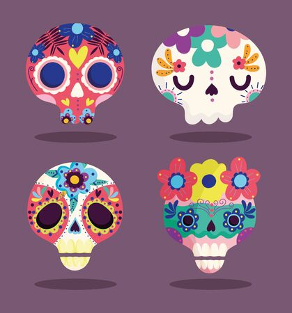 day of the dead, decorative sugar flowers culture traditional celebration mexican icons