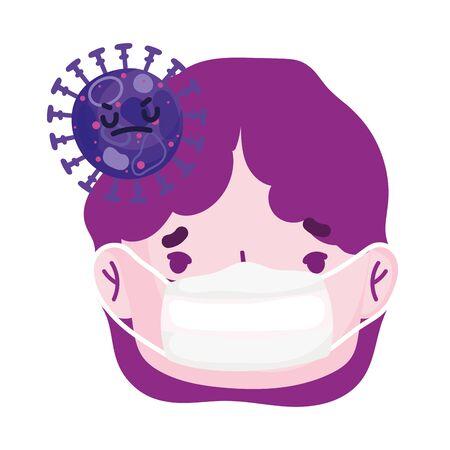 sick man face cartoon medical mask covid 19 coronavirus pandemic