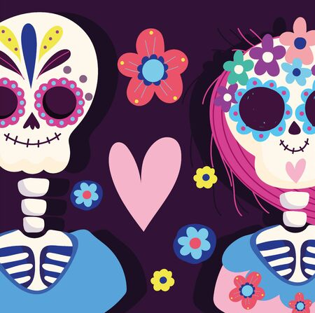day of the dead, couple skeleton heart flowers traditional mexican celebration Ilustração