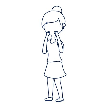 worried woman character cartoon isolated icon line style 向量圖像