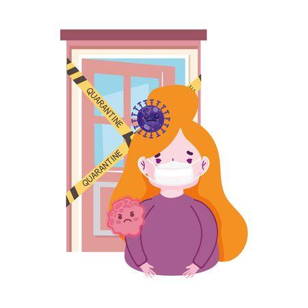 covid 19 coronavirus pandemic, girl with prevent mask sick in quarantine  イラスト・ベクター素材