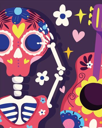 day of the dead, skeleton and guitar flowers decoration traditional celebration mexican