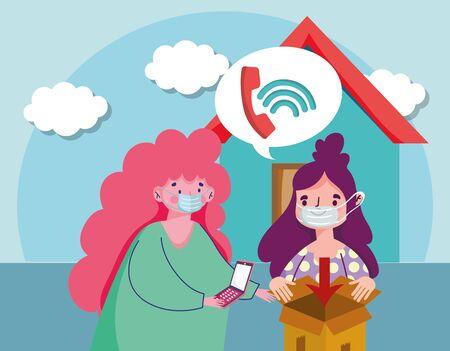 woman using mobile ordering call ecommerce online shopping covid 19 coronavirus