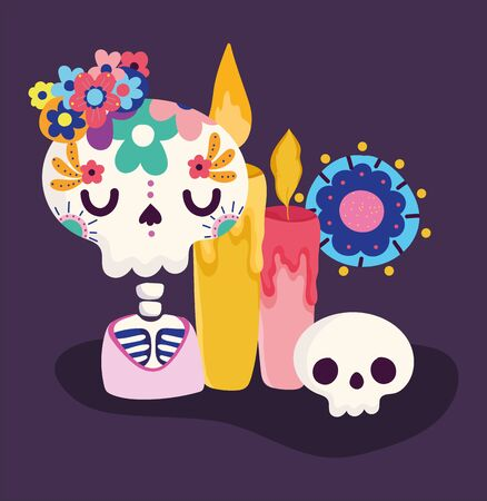 day of the dead, skeleton candle and flowers decoration traditional celebration mexican Ilustração