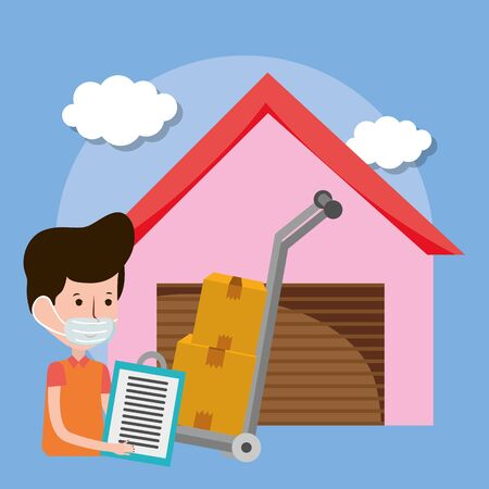 delivery man warehouse and handcart with boxes ecommerce online shopping covid 19 coronavirus