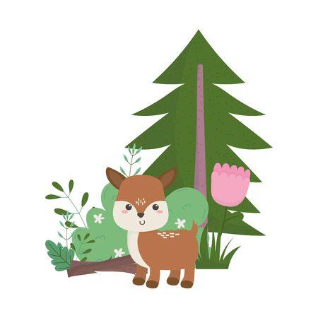 camping cute deer flower tree bush nature cartoon Ilustración de vector