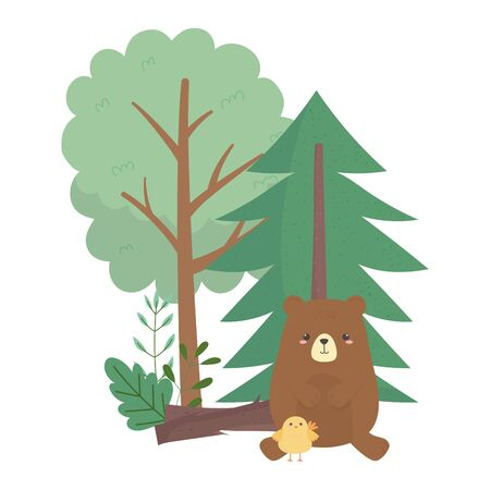 camping bear and chicken trees cartoon isolated icon design