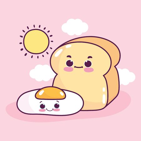 food cute breakfast fried egg and bread sun clouds cartoon vector illustration