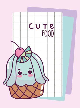food cute sweet cupcake grid paper cartoon