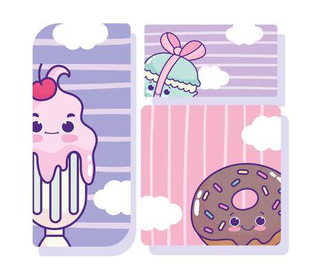 food cute milkshake macaroon and donut cartoon Illustration