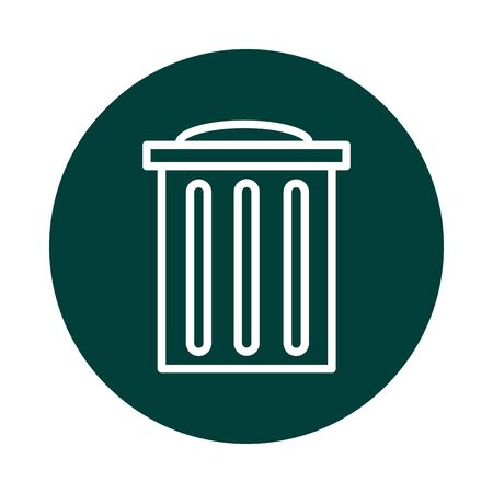 trash can ecology alternative sustainable energy vector illustration block line style icon