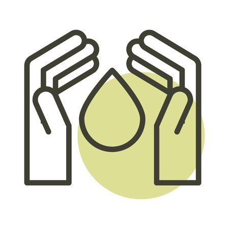 hands water drop alternative sustainable energy line style icon 向量圖像