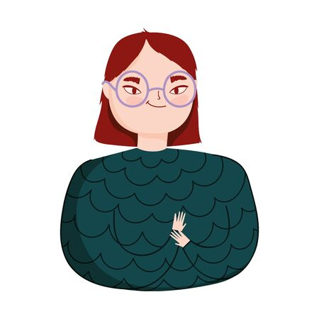 portrait young woman with glasses character isolated icon