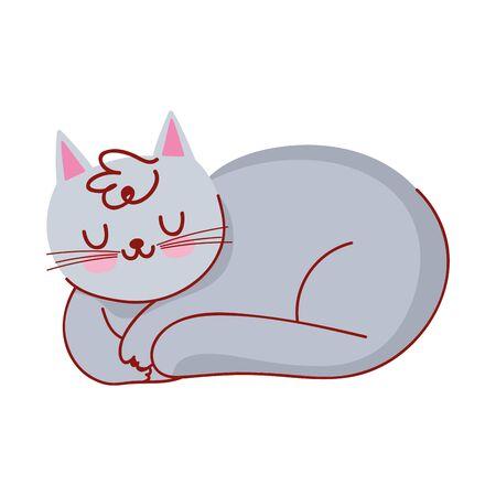 sleeping gray cat domestic pet cartoon isolated icon vector illustration