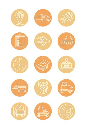 fast delivery cargo shipping commerce business icons set vector illustration block style icon Foto de archivo - 143745352