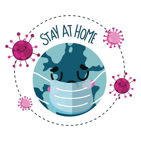 stay at home, sad world with medical mask covid 19 prevent vector illustration covid 19