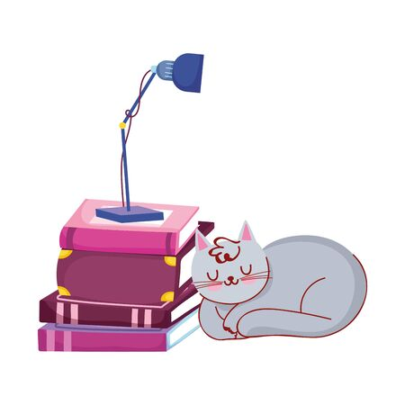 gray cat sleeping stack books and lamp, book day vector illustration 向量圖像