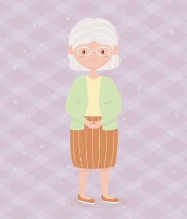 old people, elderly woman grandmother, mature person cartoon character vector illustration