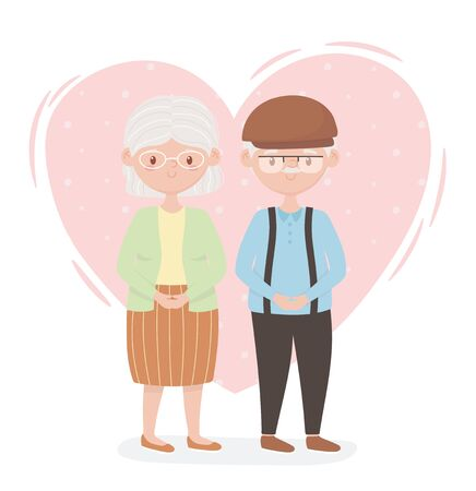 old people, cute couple grandparents, senior persons, family members cartoon characters vector illustration