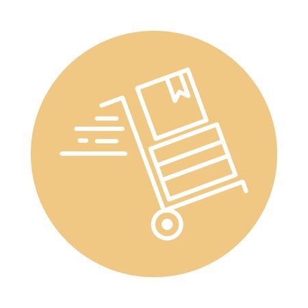 handcart cardboard box delivery cargo shipping vector illustration block style icon Foto de archivo - 143745451