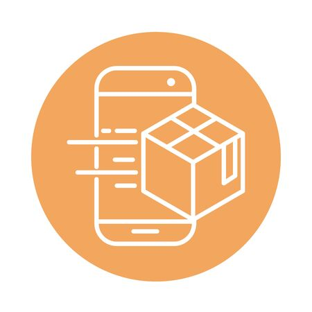 smartphone app cardboard box cargo shipping related delivery vector illustration block style icon Foto de archivo - 143745356