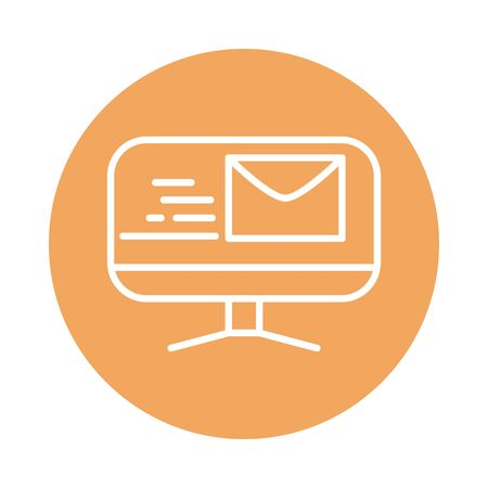 computer email fast shipping related delivery vector illustration block style icon